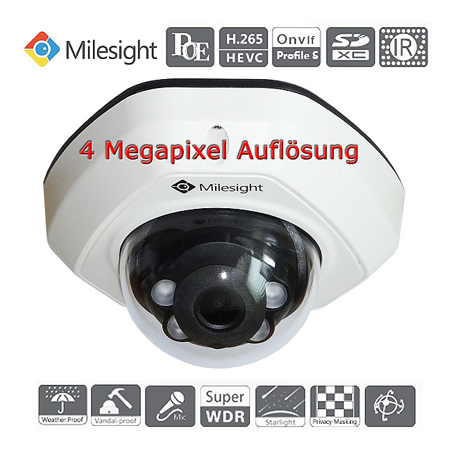Bild 2 - Milesight 4 Megapixel IP-IR-Mini-Domekamera MS-C4473-PB