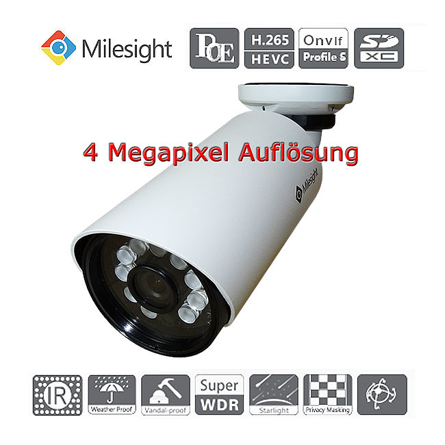 Bild 7 - Milesight 4 Megapixel IP-IR-Mini-Bulletkamera MS-C4463-PB