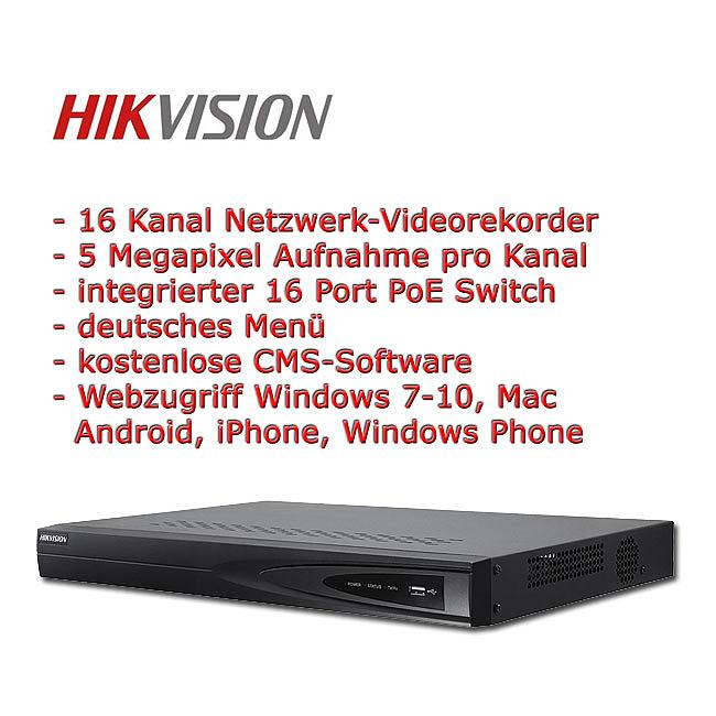 Hikvision NVR 16 Kanal inkl  PoE-Switch, 5 MP Aufnahme