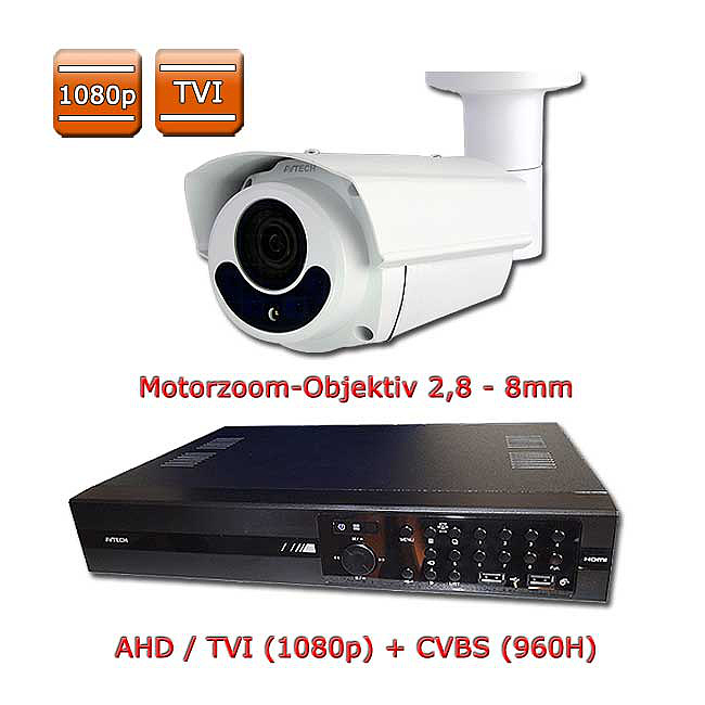 Überwachungssystem 2 MP TVI / Set Motorzoom