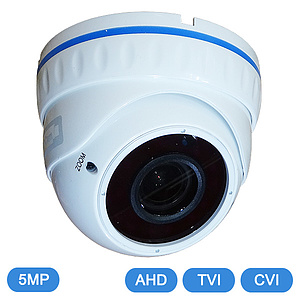 AHD / TVI / CVI-IR-Domekamera 5MP Vario IP66 OSD / QC-636