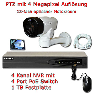 IP-Überwachungs-Set, PoE NVR + 4MP IP-PTZ-Kamera IP66