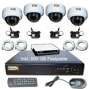IP-�berwachungs-Set 1080p, NVR + 4x Autofokus-IR-Dome IP66