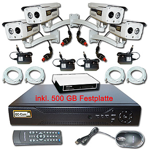 IP-�berwachungs-Set 1080p, NVR + 4 x Fix-Infrarotkamera IP65
