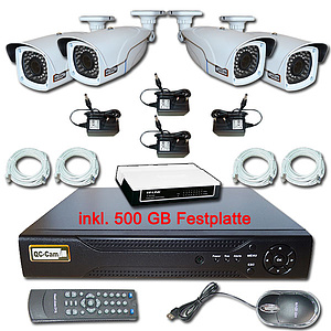 IP-�berwachungs-Set 1080p, NVR + 4 x Vario-IR-Kamera IP66