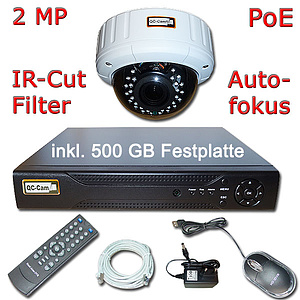 IP-�berwachungs-Set 1080p, NVR + 2MP Autofokus-IR-Dome IP66