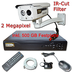 IP-�berwachungs-Set 1080p, NVR + 2MP Fix-IR-Kamera IP65