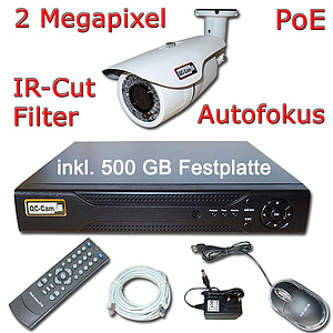 IP-�berwachungs-Set 1080p, NVR + 2MP Autofokus-IR-Kamera IP66