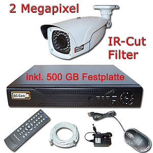 IP-�berwachungs-Set 1080p, NVR + 2MP Vario-IR-Kamera IP66