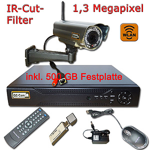 WIFI-IP-�berwachungs-Set 1080p, NVR + 1,3MP W-Lan-IR-Kamera IP66