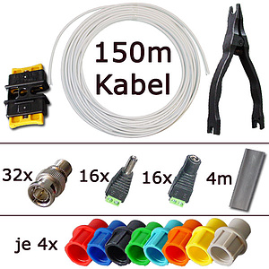 Video-Kombi-Kabel Selbstbau-Kit für 16 Kabel