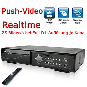 Langzeitrekorder 4 CH Full D1 Realtime, H.264, Push Video / AVC792PV
